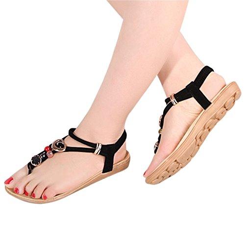 ANDAY Women's Bohemian Beads Beach T-Strap Sandals Flats Black ka6lh