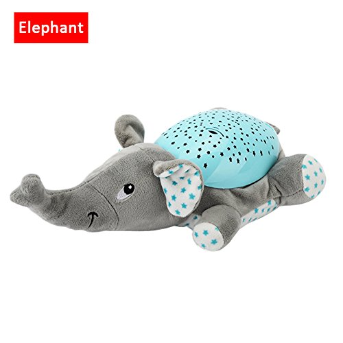 per Plush Animals Star Projector Nightlight with Music Stuffed Toys Luminous Projection Comfort Toys for Kids Baby Toddlers (Elephant) by Per