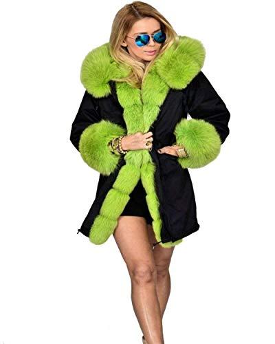 Eleganti Incappucciato Lunghe Giaccone Donna Lanuginoso Semplice Addensare Glamorous Pelliccia Outwear Sintetica Prodotto Bicolore Invernali Caldo Maniche Giubotto Libero Verde Tempo Plus C5X8wadnd