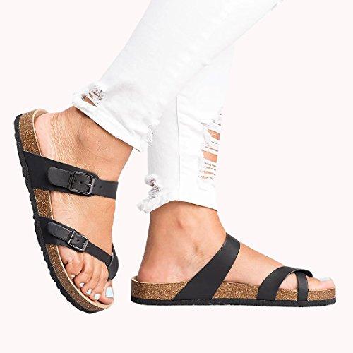 Womens Flat Sandals Ankle Strap Buckle Platform Beach Flip Flop Gladiator Thong Summer Shoes (US 8.5, - Platform Shoes Thong
