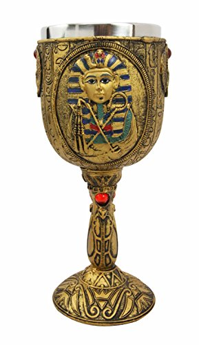 Ancient Egyptian Pharaoh King Tut Resin Wine Goblet Chalice With Stainless Steel Liner (Egyptian Party Decorations)