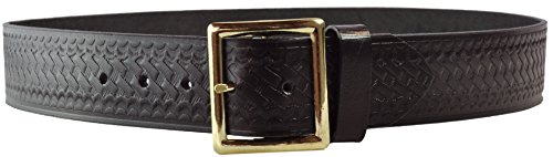 Tactical 365 Operation First Response Police & Security Black Leather Duty Basket Weave Garrison Belt Made in the USA (50, Gold) (Garrison Belts Military Clothing Accessories)