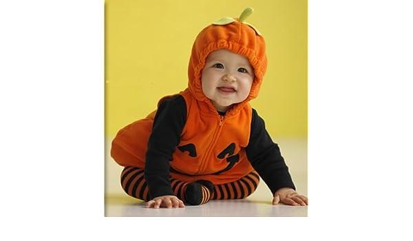 c7a9286ec Amazon.com: Carter's Pumpkin Jack O Lantern Costume 3 Pieces Orange Black  Striped Tights Long Sleeve Shirt Top (3-6 months): Baby