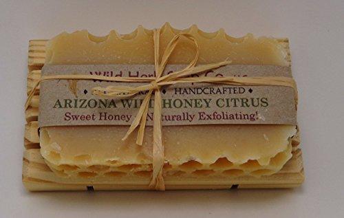Arizona Wild Honey Citrus Natural Soap Bar tied to pine soap dish by Wild Herb Soap Co.