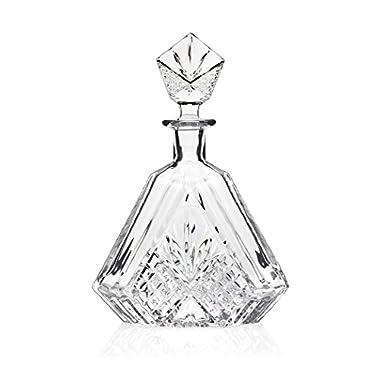 James Scott Triangular Crystal, Liquor, Whiskey,Wine, Decanter- Irish Cut 610ML. 10.25 in. Tall; Full Ground Crystal Stopper.
