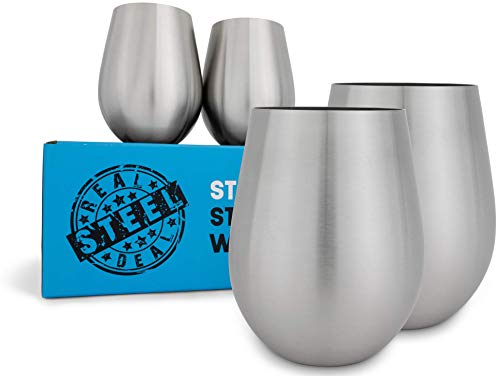 Stemless Stainless Steel Wine Glasses: Real Deal Steel Metal Wine Glass Set - Brushed Stainless Steel Outdoor Wine Tumbler for the Pool, Camping, Cookouts, Travel - Set of 4 Drinking Cups, 18 Ounces