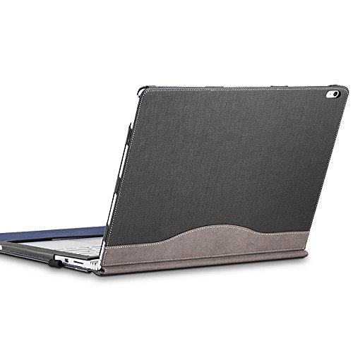 Surface Book 2 (15 inch) Sleeve Case, Ronuo Synthetic Leather Detachable Magnetic Adsorption with Elastic Bandage [Stylus Pen Holder Loop] Folio Flip Breathable Protective Case Cover (Grey)