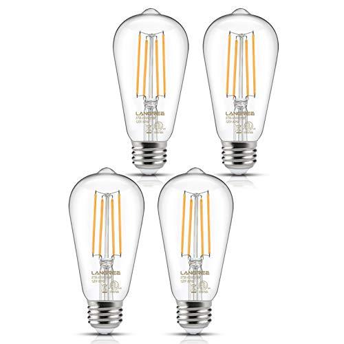 Decorative Incandescent Bulb - Vintage LED Edison Bulb 6W Light Bulb, 60W Equivalent 2700k Warm White, Non-Dimmable Led Filament Light Bulb, ST58 Antique E26 Medium Base, Decorative Bulbs for Kitchen Dining Room Home, Pack of 4