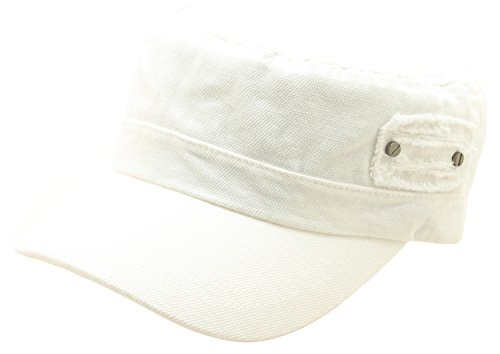 Canvas Distressed Cap - ATOBAO Canvas Cotton Distressed Side Design Army Cap Cadet Military Hat Adjustable (White)