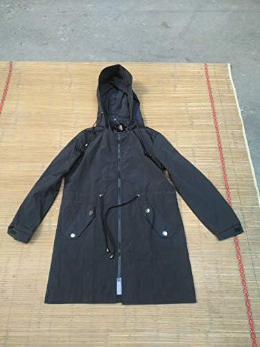 スポーツジャケット防風防雨カジュアルレインコート長袖ジッパーコート単色シンプルなフード付きジャケット-ブラックXL