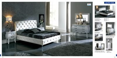 ESF Nelly White Leatherette & Lacquer Platform Bedroom Set - King Size