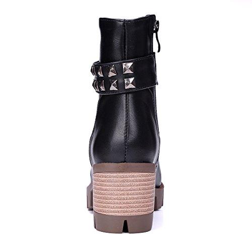 Carolbar Womens Zip Rivet Fashion Mid Heel Spikes Martin Short Boots Black 5XZiVM32J