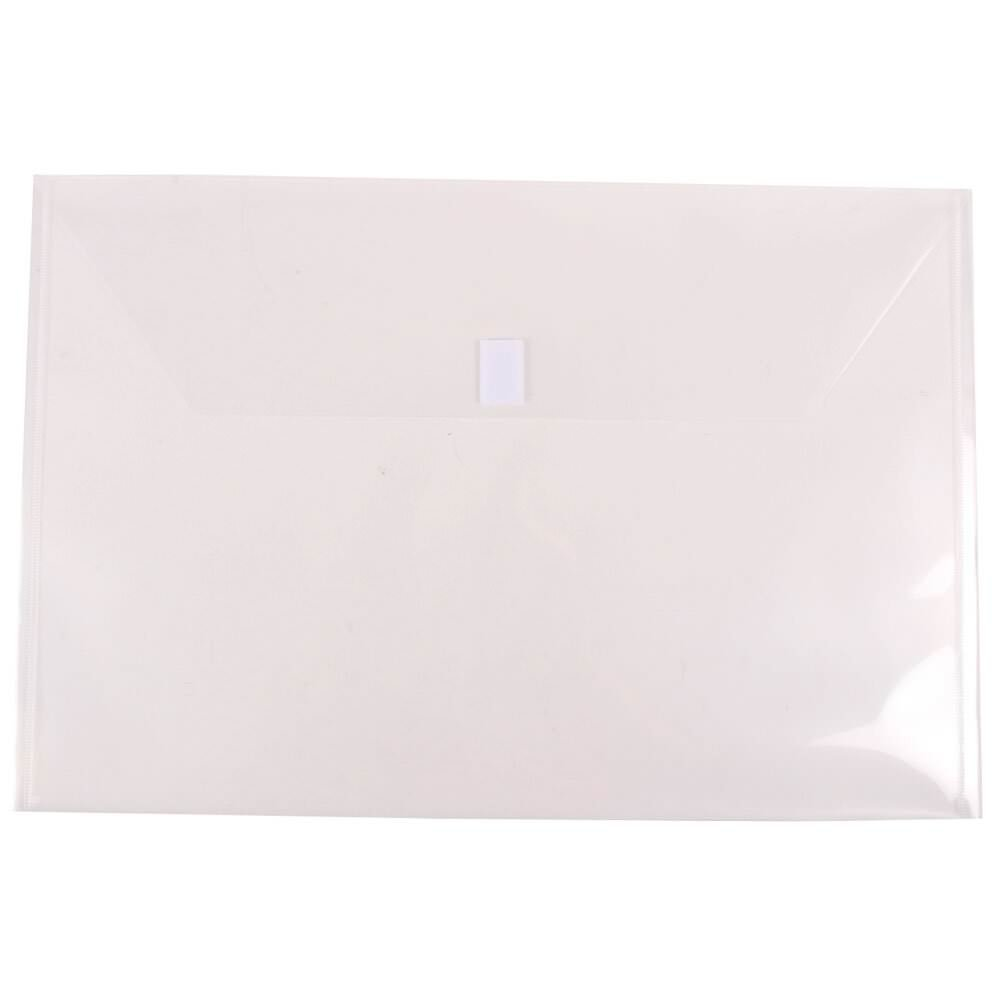 JAM PAPER Plastic Envelopes with Hook & Loop Closure - Jumbo Booklet - 12 x 18 - Clear - 12/Pack