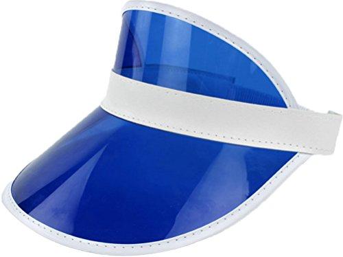 Ababalaya Unisex SPF 50+ UV Protection PVC Wide Brim Transparent Sun Visor Hat (Blue)