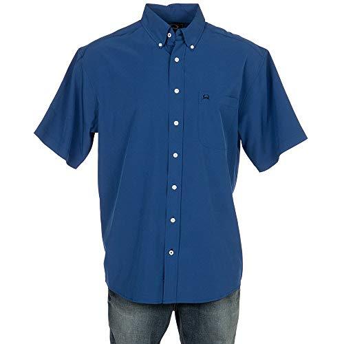 (Cinch Men's Arenaflex Short Sleeve Button One Open Pocket Print Shirt, Brandy Blue L)