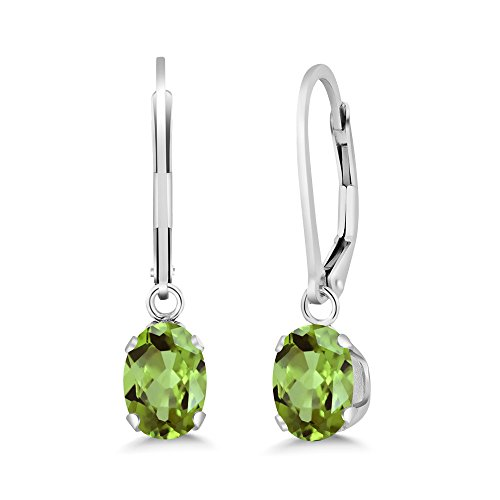 Gem Stone King 1.60 Ct Oval Green Peridot Gemstone Birthstone 925 Sterling Silver Leverback Earrings