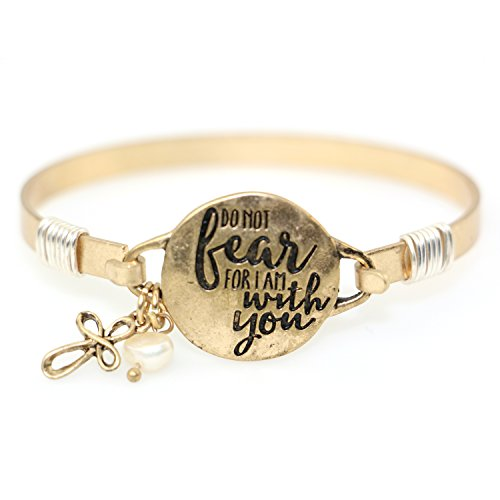 Do Not Fear For I am With You Beautiful Christian Bangle Bracelet with Wire Design and Cross Charm and Bead (Worn Gold)