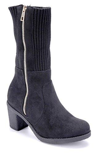 Schuhtempel24 Damen Schuhe Klassische Stiefel Stiefeletten Boots Blockabsatz 7 cm Schwarz
