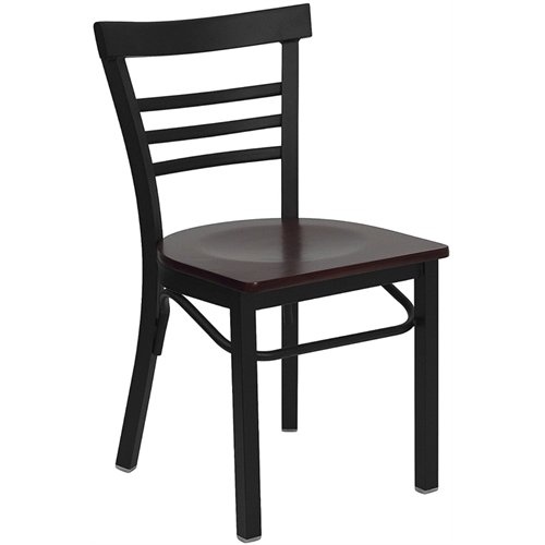 Flash Furniture XU-DG6Q6B1LAD-MAHW-GG Hercules Series Black Ladder Back Metal Restaurant Chair with Mahogany Wood Seat