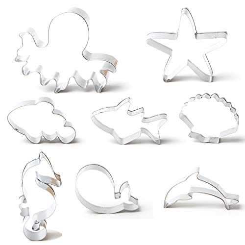 Sea Creatures Cookie Cutter Set 8 Pieces - Shark Starfish Seashell Seahorse Whale Octopus Dolphin Clownfish Fish Shaped Cookie Cutters Molds Birthday Party Baby Shower Halloween Christmas Supplies ()