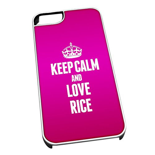 Bianco cover per iPhone 5/5S 1452Pink Keep Calm and Love Rice