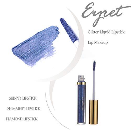 Eyret Diamond Glitter Liquid Lipstick Velvet Colorful Lip Gloss Matte Metals Waterproof Lip Glaze Professional Beauty Makeup Lipsticks for Women and Girls (Blue5#)