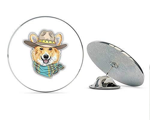 Welsh Corgi Jewelry Pin - Hipster Dog Pembroke Welsh Corgi Round Metal 0.75