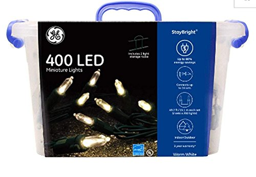 GE StayBright LED Miniature Lights, Warm White (Package of 1 (400 Lights))