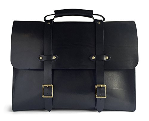 Jackson Wayne Vintage Full Grain Leather Briefcase Laptop Bag (Black) by Jackson Wayne