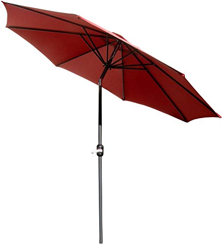 VMI 9-Feet Adjustable Umbrella with Aluminum Pole, Red