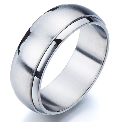 (COOLSTEELANDBEYOND Refined Style Stainless Steel Spinner Unisex Ring Man Ring Comfort Fit 8mm (8))