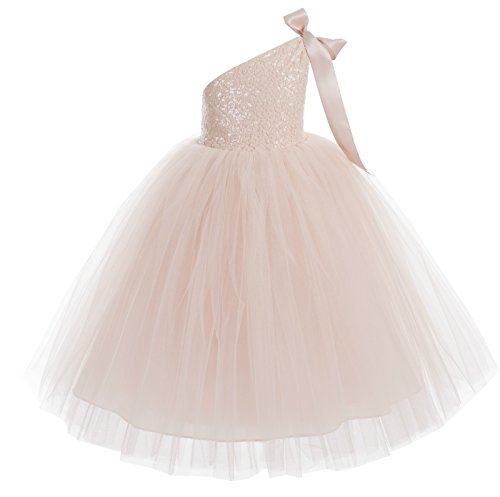 ekidsbridal One-Shoulder Sequin Tutu Flower Girl Dress Wedding Pageant Dresses Ball Gown Tutu Dresses 182 3 Blush Pink]()