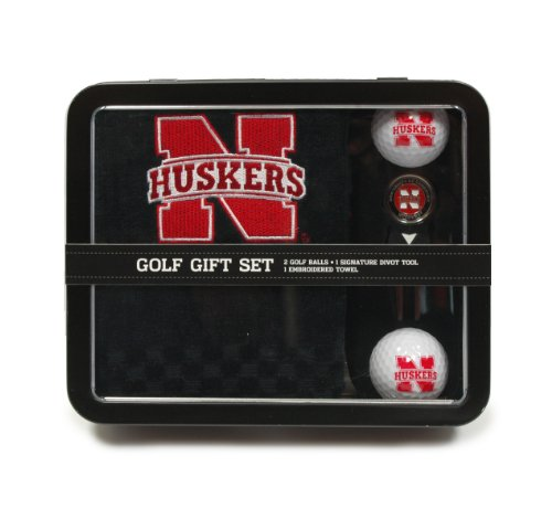 Team Golf NCAA Nebraska Cornhuskers Gift Set Embroidered Golf Towel, 2 Golf Balls, & Divot Tool with Removable Double-Sided Magnetic Ball Marker