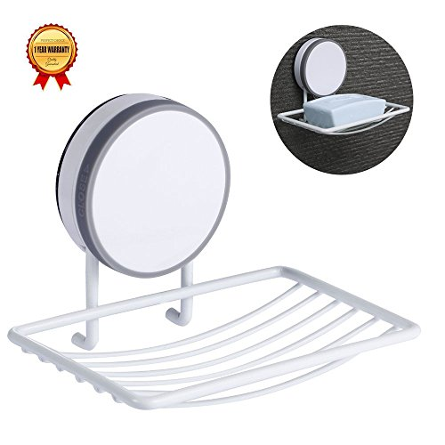 Soap Dish Holder, Super Power Vacuum Suction Cup Soap Storage Saver Wall Mounted, Adhesive, Reusable,Keep Dry, Drainable, No Drill, Waterproof,NO Mark, Kitchen Sink Bathroom Shower Accessories