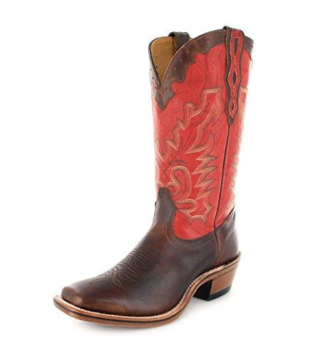 Bottes américaines - santiags: bottes de cowboy BO-9007-67-E (pied normal) - Homme - Rouge/Marron