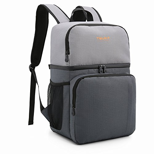 TOURIT Insulated Cooler Backpack Dual Insulated Compartment Light Lunch Backpack with Cooler for Men Women to Work, School, Picnics, Hiking, Camping, Beach, Park or Day Trips