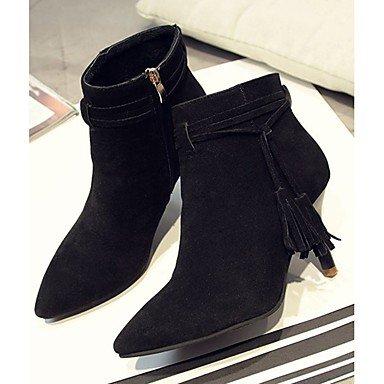 Desy botas botas de combate zapatos sintética Otoño Invierno Mujer Gato Tacón Señaló Toe botas de caña media cremallera borla para Casual Gris Beige Negro negro