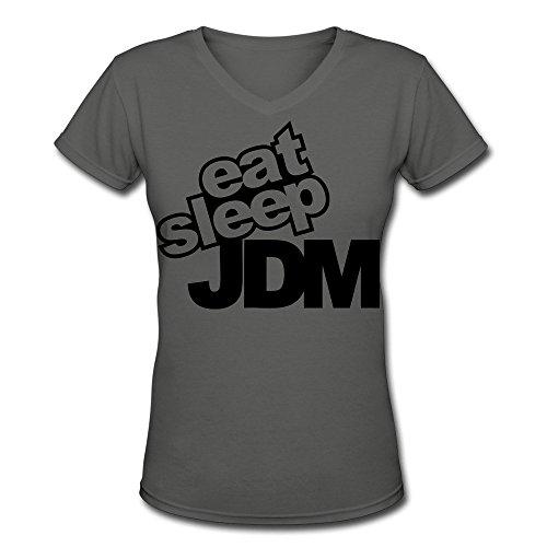 - TAUYOP Women's Eat Sleep Jdm V-Neck T-shirts DeepHeather XL
