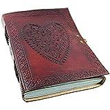 World Ltd, de cuero grande diseño de corazón de piel repujada / álbum de fotos de instagram (fabricado a mano) - copta atado con cierre de bloqueo