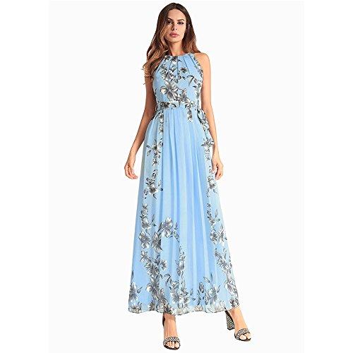 XIU Largo Con Un Mujer Vestido RONG De De A Vestido Vestido Un Y Un blue Chiffon 8wzUqr8vg