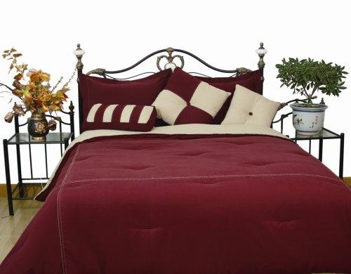 Microfiber King Comforter Set, Burgundy / Khaki