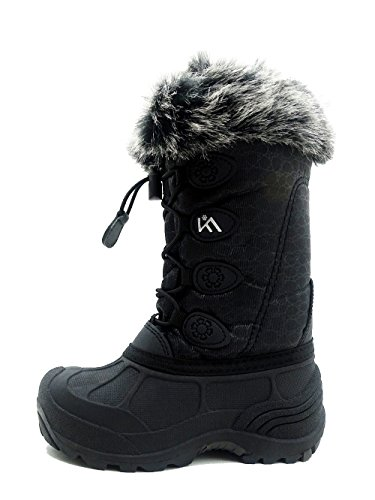 Kids Winter Snow Boots Waterproof and Insulated for Girls and Boys (11 M US Little Kid, Black)