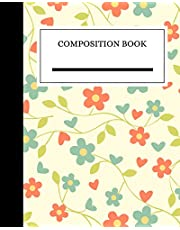 Composition Book: College-Ruled Composition Notebook with Flower Design