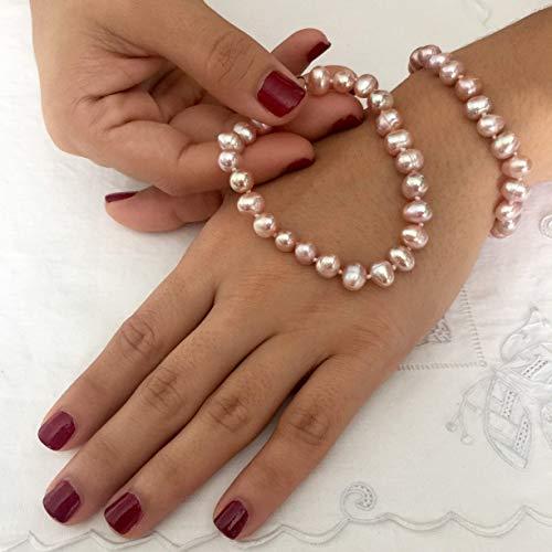 Bracelet Pearl 7mm Pink - Genuine Freshwater Pearls Bracelet. Adjustable Bracelet. Freshwater Pink Lavender 7-9 mm Pearls Bracelet.