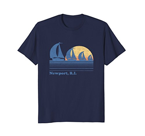 Newport RI Sailboat T-Shirt Vintage 80s Sunset - Shops Newport Ri Gift