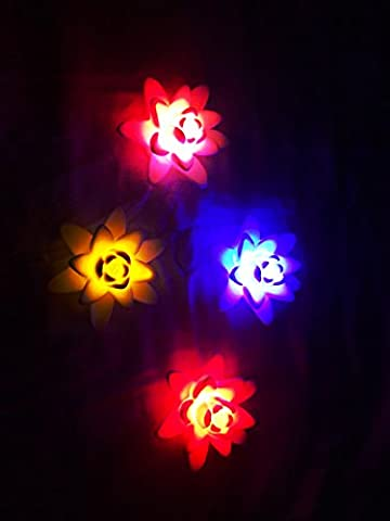 Nova Luminescence LED Multi Color Lotus Flower Battery Powered Pool Floating Lights 4 Pack - Nova Spring