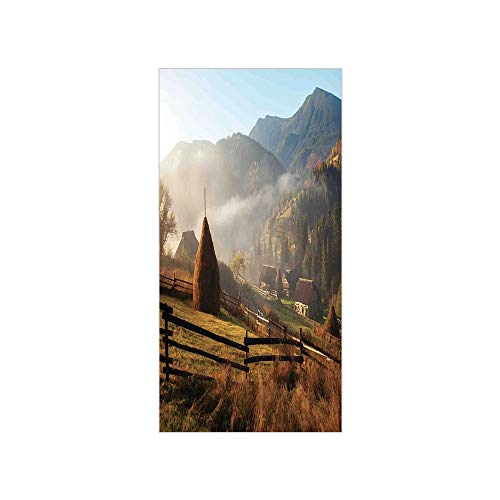 (3D Decorative Film Privacy Window Film No Glue,Woodland Decor,Morning Mist Haze in Mountain Woodland Autumn Dawn Houses Fences Landscape Decorative,for Home&Office)