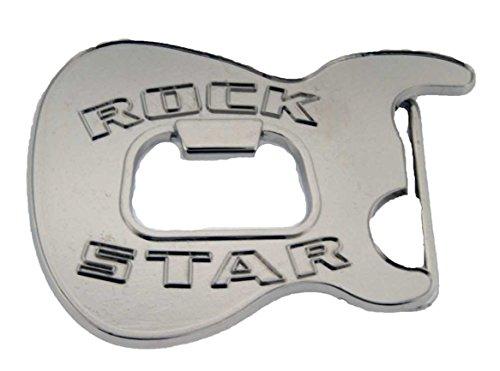 Bottle Opener Belt Buckle Skull Humor Funny Adult Men Women New Western Cowboy. (Rock Star Silver)