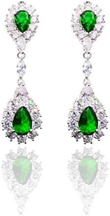 Hanie Drop Dangle Earrings Green Emerald Color Teardrop white Round Zircon Silver Tone