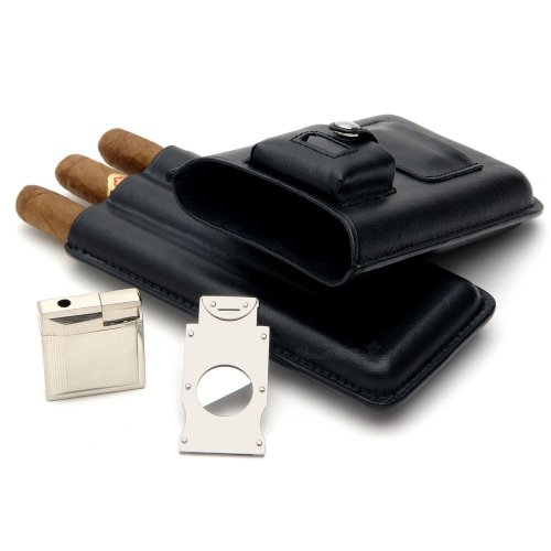 Mantello-Leather-Cigar-Case-with-Lighter-and-Cutter